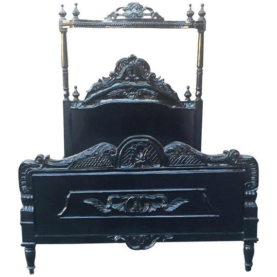 French Louis XV Black Canopy Queen Bed - Image 1 of 4