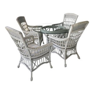 Coastal Florida Style White Wicker Round Glass Top W/ Arm Chairs Dining Set For Sale