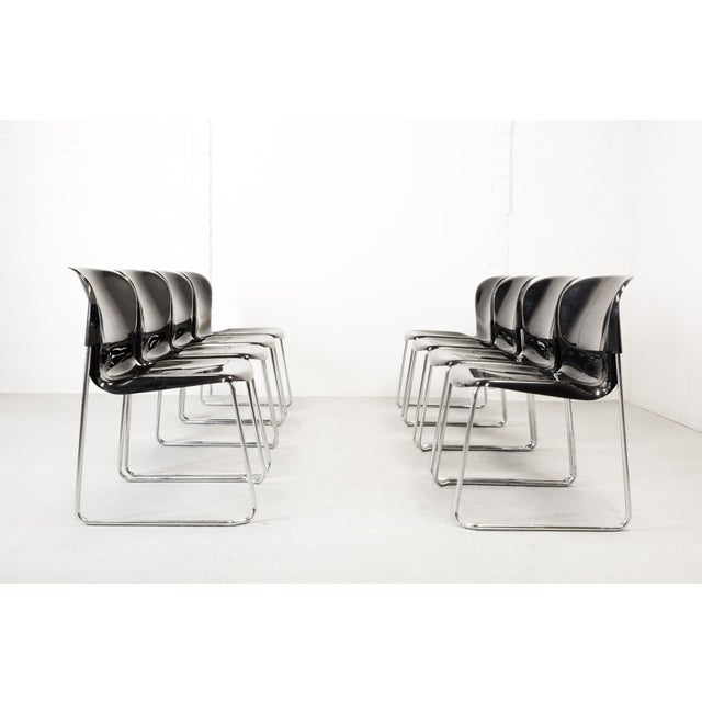 Set of Ten Mid-Century Design Black Stackable Dining Chairs by Gerd Lange for Drabert, Germany, 1980s For Sale - Image 10 of 10