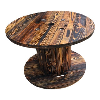 1910s Rustic Style Wood Burnt Spool Table