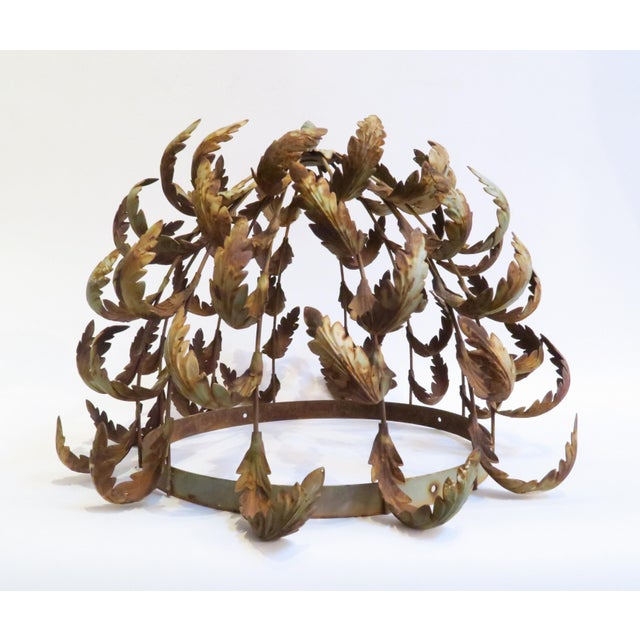 Vintage metal leaf chandelier frame chairish this is a vintage metal chandelier frame with a leaf motif it has aged and aloadofball Image collections