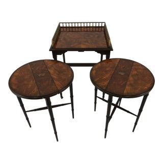 1990s Traditional Mahogany and Hand Painted Stacking Nesting Tables - Set of 3 For Sale