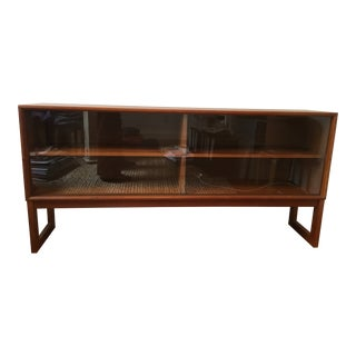 Mid-Century Modern Teak Cabinet With Two Sliding Glass Doors For Sale