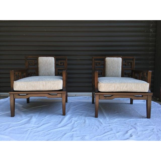 Asian Modern Chairs W Greek Key Motif A Pair Chairish