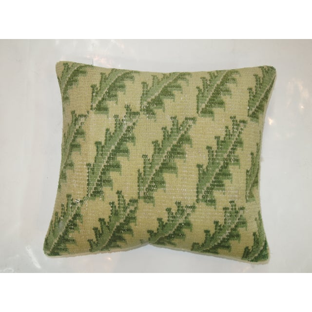 Green Leaves Turkish Rug Pillow - Image 2 of 3