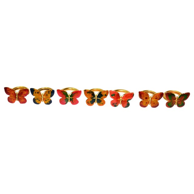 Vintage Cloisonné Butterfly Napkin Holders - S/7 - Image 1 of 8