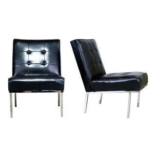 Paoli Chair Co. Black Naugahyde & Chrome Slipper Chairs - a Pair For Sale