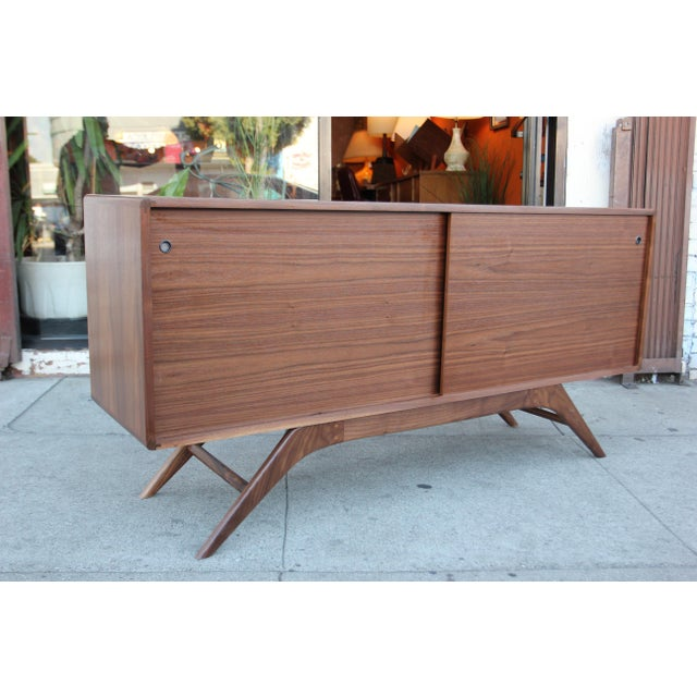 Mid-Century Walnut Credenza For Sale - Image 9 of 12