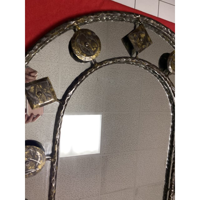 Rustic Holly Hunt Rustic Hammered Iron Decorative Mirror For Sale - Image 3 of 8