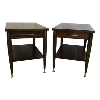 Pair of Mersman Restored Mid Century Formica Top Side Tables For Sale