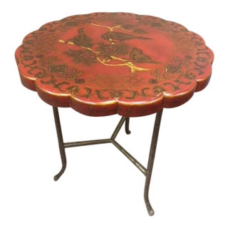20th Century Chinoiserie Maitland-Smith Hand Painted Side Table For Sale