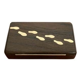 Danish Modern Sterling and Bog Oak 'Footprint' Box For Sale