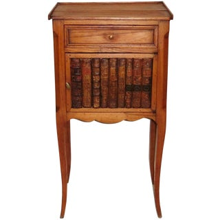 19th Century French Faux Book Detailed Nightstand For Sale
