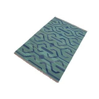 Tribal Kilim Angeliqu Green/Blue Hand-Woven Wool Rug - 3'2 X 4'11 Preview