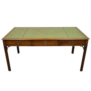 20th Century Chippendale Green Leather Mahogany Six-Drawer Writing Desk For Sale