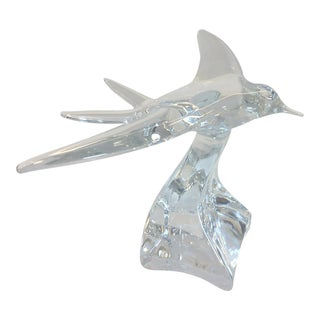 Daum Crystal Bird in Flight Sculpture For Sale