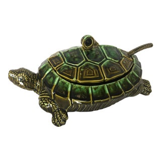 Vintage Large Majolica Turtle Soup Tureen With Ladle, 20th. C For Sale
