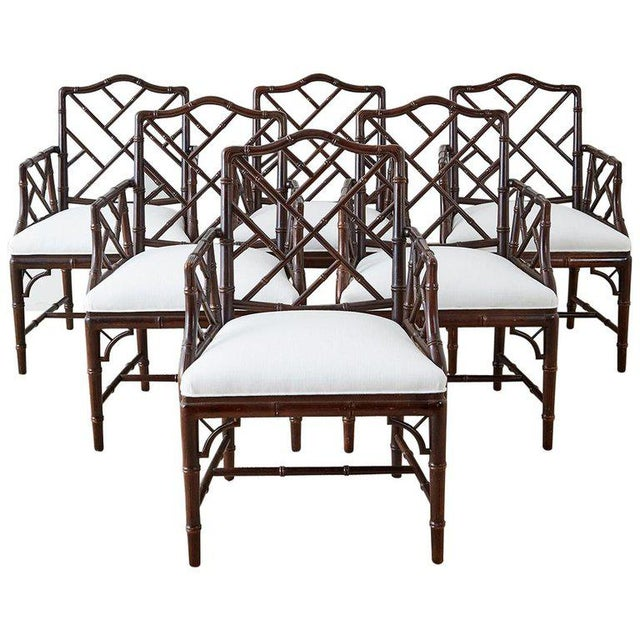 Chinese Chippendale Chocolate Lacquered Faux Bamboo Dining Chairs For Sale - Image 13 of 13