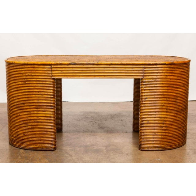 French Rattan Art Deco Desk For Sale - Image 4 of 4