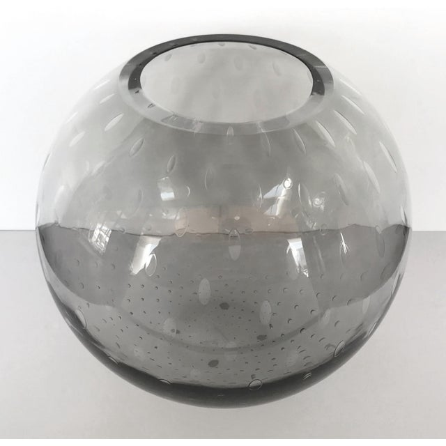 Unique Italian vase or sculpture in thick slightly smoked gray Murano glass blown with bubbles inside the glass in...