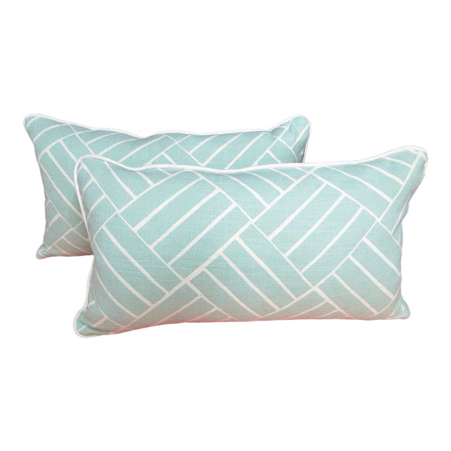 Contemporary Pattern Lumbar Pillows in Seafoam - a Pair For Sale