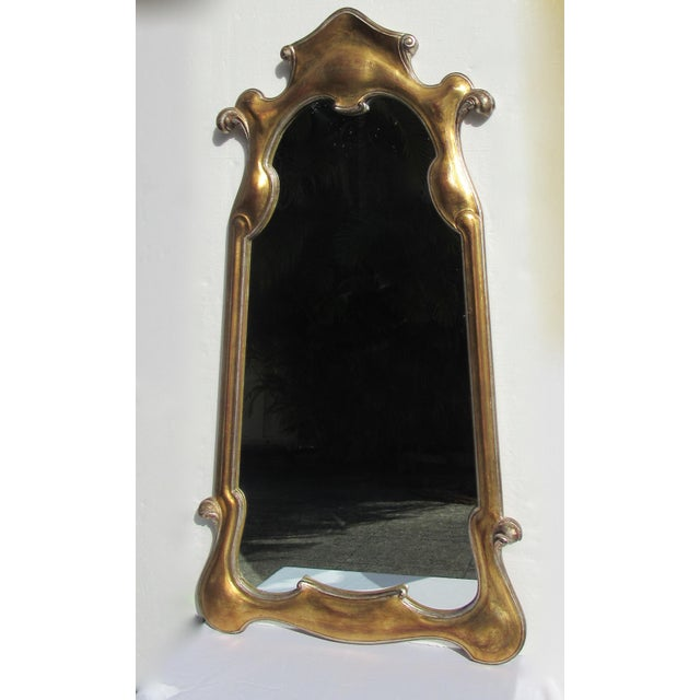 1960s Vintage Hollywood Regency Dorothy Draper-Style Parcel Gilt Gold & Silver Ornate Curvy Mirror For Sale - Image 5 of 13