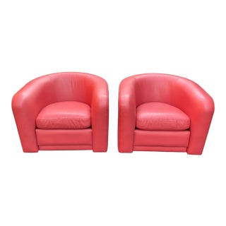 Vintage 1980s Custom Club Chairs in Rouge Leather - a Pair For Sale
