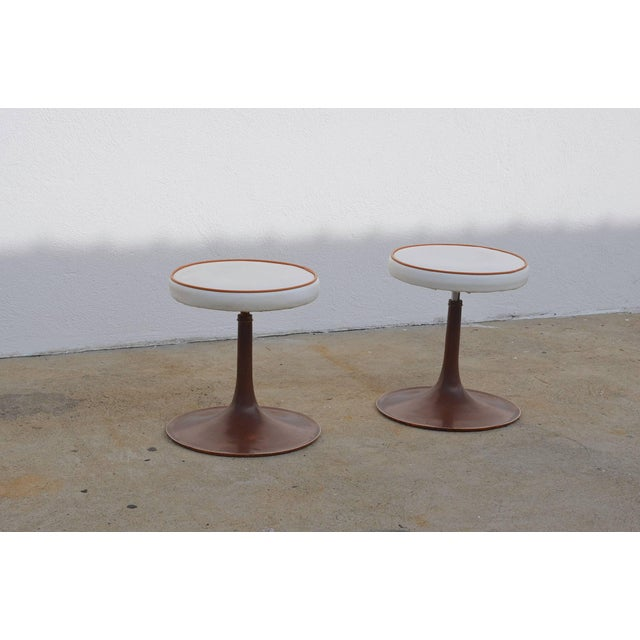 Thinline Cast Aluminum Upholstered Swiveling Stools - a Pair For Sale In Los Angeles - Image 6 of 6