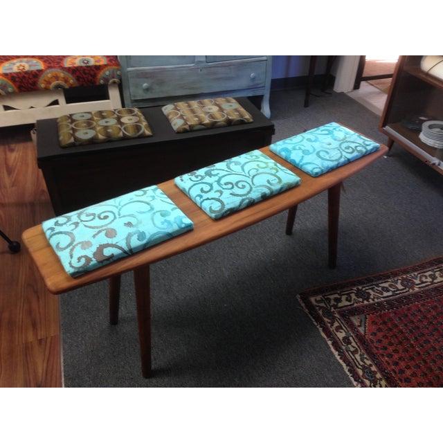 Teak and Batik Three Seater Bench - Image 6 of 6