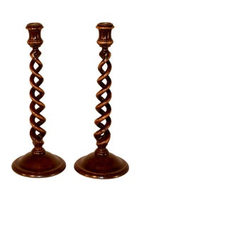 Pair of 18th Century Mahogany Tall Candlesticks For Sale