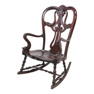 Victorian Figural Dolphin Carved Mahogany Rocker For Sale