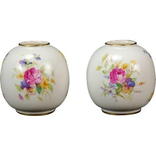 Kitty Blake Royal Worcester Hand Painted Miniature Vases - A Pair