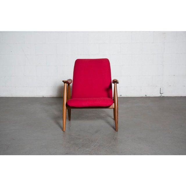 Mid-Century Magenta Upholstery Teak Lounge Chair - Image 3 of 10