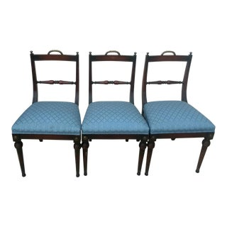 Vintage Mid Century Sheraton Style Federal Mahogany & Brass Dining Side Chairs - Set of 3 For Sale