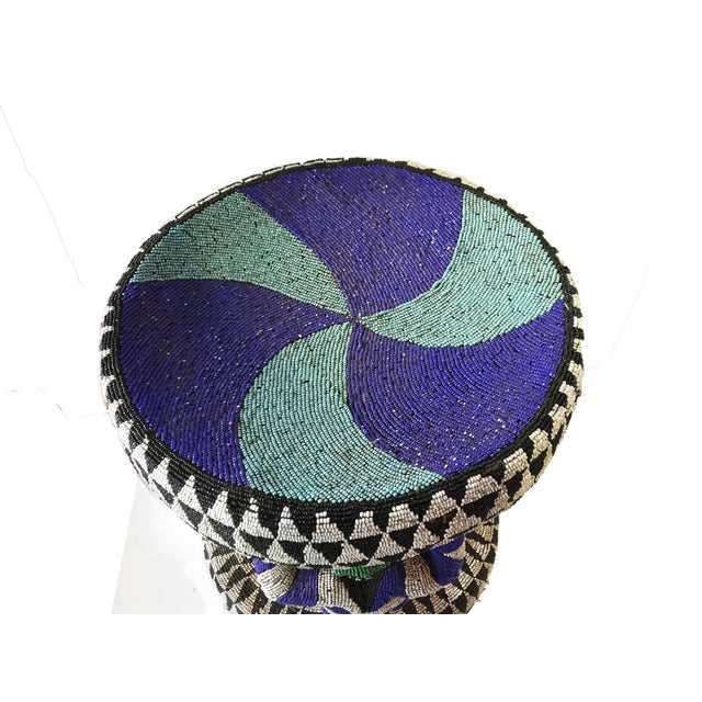 "African Beaded wood Bamileke Stool /Table Cameroon 19'""H For Sale - Image 10 of 12"