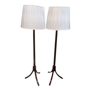 Macassar Ebony Floor Lamps - a Pair For Sale