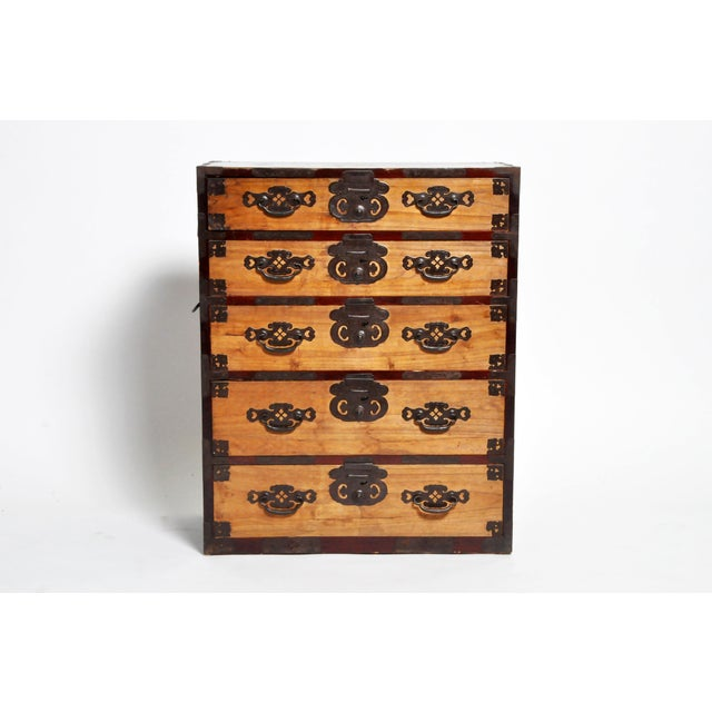 Japanese Two Pc. Tansu Chest With Hand Forged Hardware For Sale - Image 13 of 13