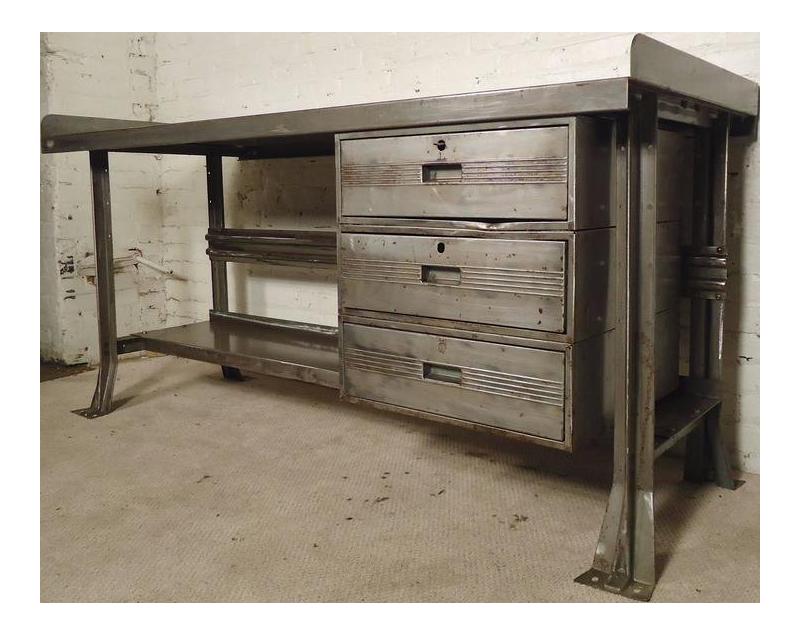 Vintage factory furniture Portalstrzelecki Restored Vintage Factory Desk For Sale Chairish Restored Vintage Factory Desk Chairish