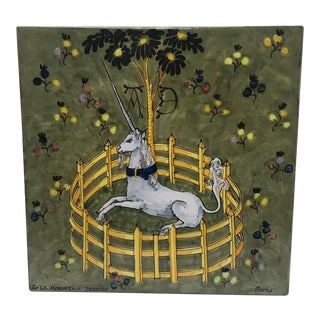 Early 20th Century French Unicorn Ceramic Tile For Sale