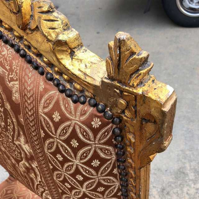 1930s Vintage Imperial Gilded French Sofa and Chairs - Set of 3 For Sale - Image 9 of 11
