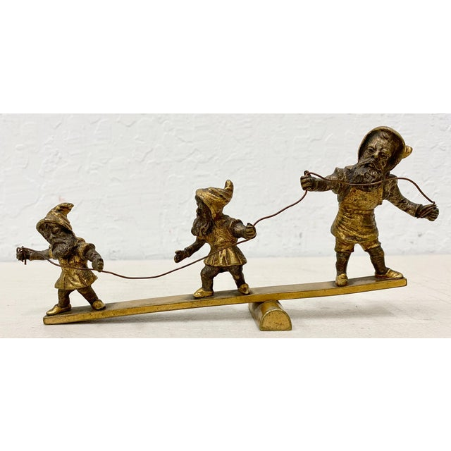 Early 20th Century Early 20th C. Gilded Bronze Sculpture of Three Balancing Dwarf's For Sale - Image 5 of 5