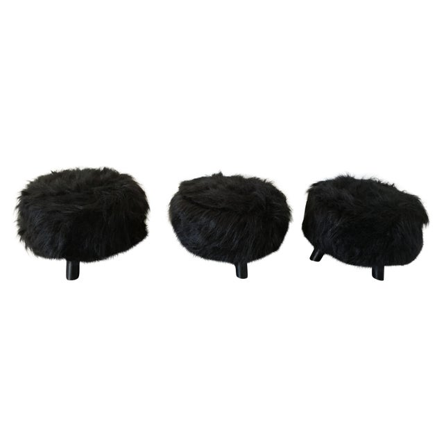 Black Faux Flokati Ottomans - Set of 3 - Image 1 of 3