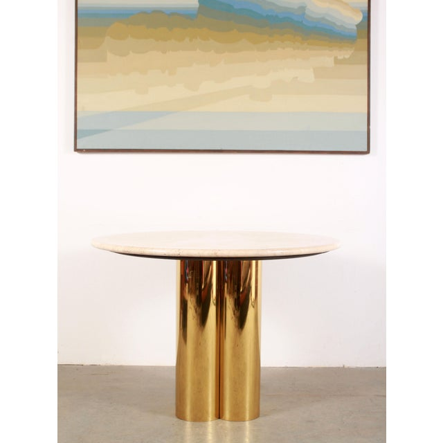 Exceptional vintage mid century modern polished brass & travertine top small dining table or games table by Mastercraft!...