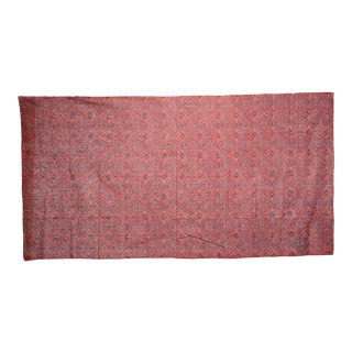 20th Century Large Silk Burnt Red Sarong Tapestry Shawl For Sale
