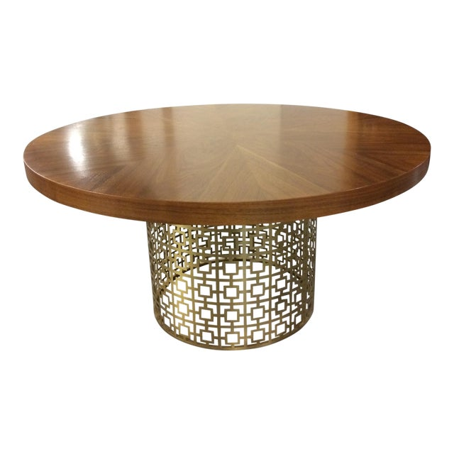 Jonathan Adler Walnut Table With Brass Base For Sale
