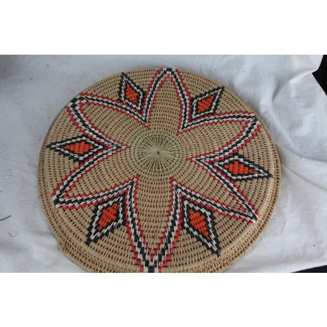 Primitive Vintage Mid-Century Tribal Woven Platter For Sale - Image 3 of 6