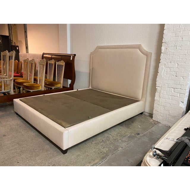 California King Nathan Anthony Brownstone Upholstered Bedframe For Sale - Image 4 of 11