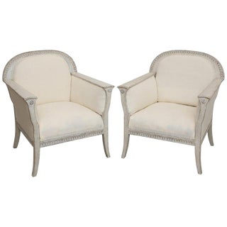 Pair of Antique Swedish Painted Wood Frame Bergère Armchairs, Late 19th Century