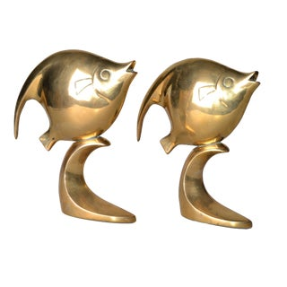 Polished Solid Brass Fish Bookends For Sale