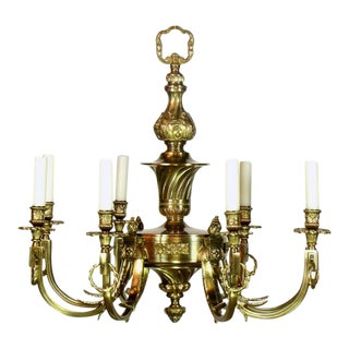 Eight Light Brass Chandelier For Sale